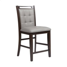 Lyman Grey Faux Leather Fabric. Rubber Wood In Arabica Finish Counter Stool