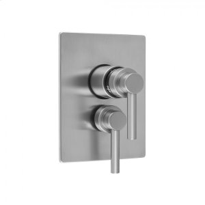 "Antique Brass - Rectangle Plate with Contempo Lever Thermostatic Valve and Contempo Lever Volume Control Trim for 1/2"" Thermostatic Valve with Integral Volume Control (J-THVC12) Product Image"