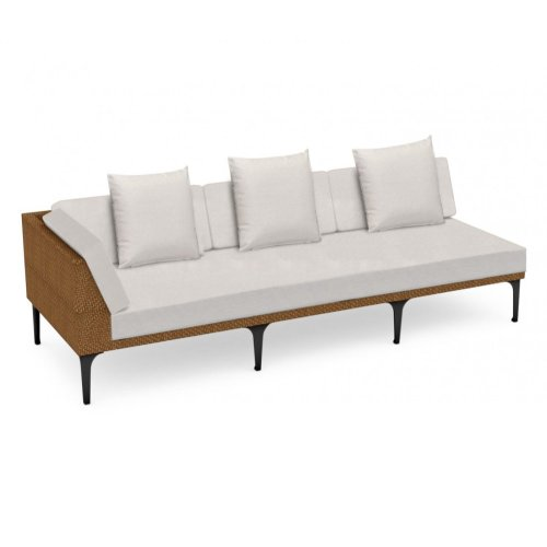 """98"""" Outdoor Tan Rattan 3 Seat L-Shaped Right Sofa Sectional, Upholstered in COM"""
