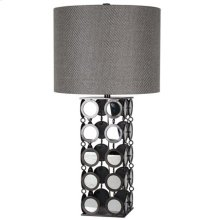 HYATT TABLE LAMP  Plain Mirror and Gunmetal Finish on Linked Disk Body  Hardback Shade  150 Watt