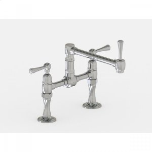 """Brushed Stainless - Deck Mount 8 7/8"""" Articulated Single Swivel Spout with Metal Lever Product Image"""