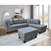 9125 Linen Fabric Sectional Sofa - Right