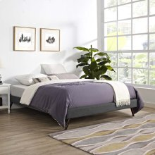 Loryn King Fabric Bed Frame with Round Splayed Legs in Gray