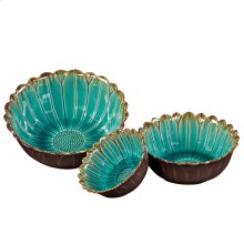 Deep Sea Blue w/Mocha Accents Ceramic Decorative Bowls
