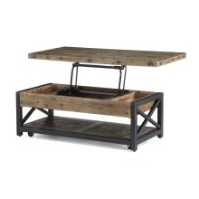 Carpenter Rectangular Lift-Top Coffee Table with Casters