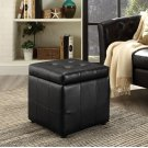 Volt Storage Upholstered Vinyl Ottoman in Black Product Image