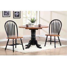 "DLU-TPD4242-820-BCH3PC  3 Piece 42"" Round Drop Leaf Dining Set Arrowback Chairs"