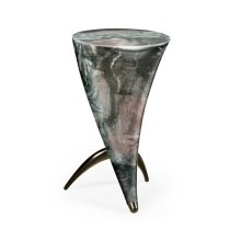 Horn Shaped Faux Black & Grey Marble End Table