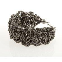 BTQ Silver Woven Bead Bracelet