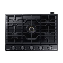"30"" Chef Collection Gas Cooktop with 22K BTU Dual Power Burner in Matte Black Stainless Steel"