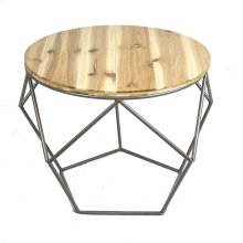 Round Metal Accent Table, Wood Top