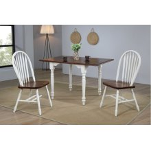 DLU-ADW3448-820-AW3PC  3 Piece Drop Leaf Dining Set  Antique White with Chestnut Top  Arrowback Chairs