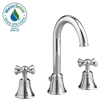 High Spout Widespread Lavatory Set - Cross Handle - Polished Chrome
