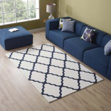 Marja Moroccan Trellis 5x8 Area Rug in Ivory and Navy