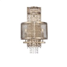 "Legacy Collection Wall Sconce D12"" H21"" Antique Silver Leaf Finish"