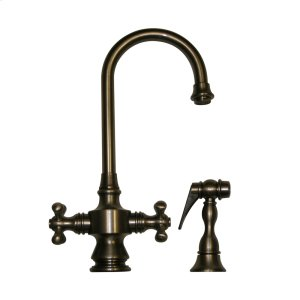 Vintage III dual-handle entertainment/prep faucet with a short gooseneck swivel spout, cross handles, and a solid brass side spray. Product Image
