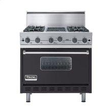 "Graphite Gray 36"" Open Burner Commercial Depth Range - VGRC (36"" wide, four burners 12"" wide char-grill)"