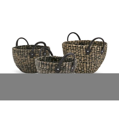 Balee Round Baskets with Handles - Set of 3, Ast 3