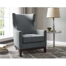 "Roswell Linen Accent Chair w/ Brass Nailhead Gray 29""x36""x42"""
