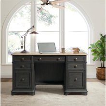 Barrington Two Tone - Double Pedestal Desk - Antique Oak/matte Black Finish