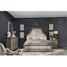 Arch Salvage Queen Bryce Upholstered Bedroom Set: Queen Bed, Nightstand, Dresser & Mirror