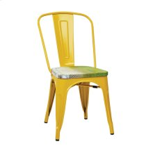 Bristow Metal Chair With Vintage Wood Seat, Yellow Finish Frame & Pine Alice Finish Seat, 4 Pack