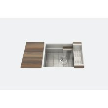 "SmartStation® 005458 - undermount stainless steel Kitchen sink , 24"" × 18 1/8"" × 10"" (Walnut)"