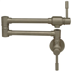 Waterhaus lead-free, solid stainless steel wall mount pot filler with lever handles. Product Image