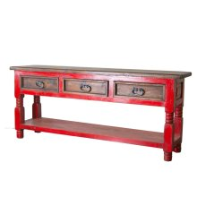 Red/Walnut Bill 3 Drawer Console