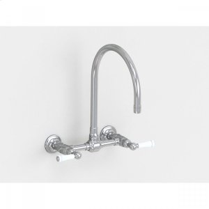 """Brushed Stainless - Wall Mount 10"""" Swivel Spout with White Ceramic Lever Product Image"""