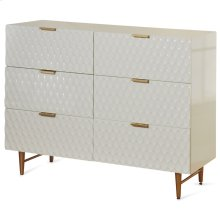 Cream Textured Contemporary Dresser with Gold Hardware  36in X 47in X 16in  Six Drawer Dresser