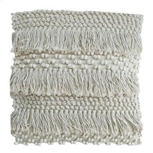 "(LS) Marley Fringe Square Pillow (22"" X 22"") - Oatmeal"