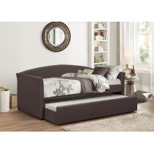 BROWN PU DAYBED W/ TRUNDLE