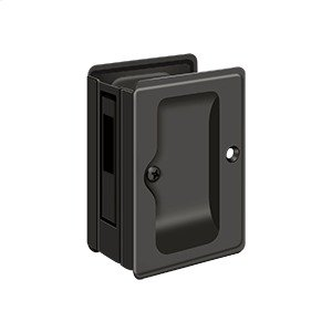 "HD Pocket Lock, Adjustable, 3 1/4""x 2 1/4"" Sliding Door Receiver - Oil-rubbed Bronze Product Image"