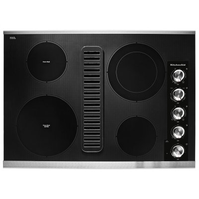 """30"""" Electric Downdraft Cooktop with 4 Elements - Stainless Steel Product Image"""