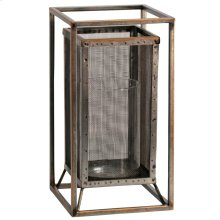 Caged Candle  6in W. X 12in Ht. Metal Candleholder with Glass Cylinder