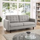 Empress Upholstered Fabric Loveseat in Light Gray Product Image