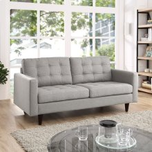 Empress Upholstered Fabric Loveseat in Light Gray