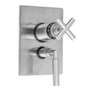 """Antique Brass - Rectangle Plate with Slim Cross Thermostatic Valve and Slim Lever Volume Control Trim for 1/2"""" Thermostatic Valve with Integral Volume Control (J-THVC12) Product Image"""