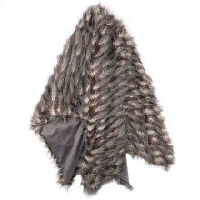 MONTAUK THROW- BLACK TAUPE CREAM  Faux Fur