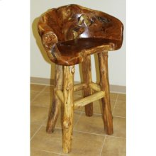 Teak Log Barstool
