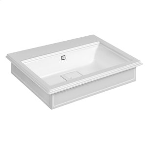 "Wall-mounted or counter-top washbasin in Cristalplant® with overflow waste Matte white 20-9/16"" L x 27-9/16"" W x 5-7/8"" H Overflow cap in finish 031 chrome - see 46763 for more finish options May be drilled on-site for single or 3 hole washbasin mixer CSA Product Image"