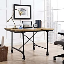 Raise Wood Office Desk in Brown
