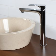 Deck-mount single hole faucet with lever handle.