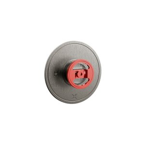 UNION Thermostatic Valve Trim with Red Round Handle - Brushed Black Chrome