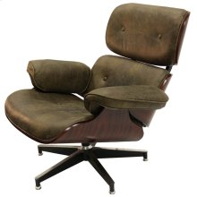 WAGNER SWIVEL CHAIR  Vintage Brown Leather with Iron Finish on Metal Frame