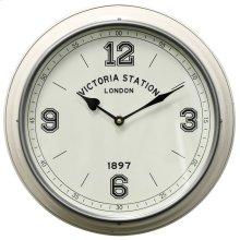 Metal & Glass Wall Clock  12in X 12in X 2in