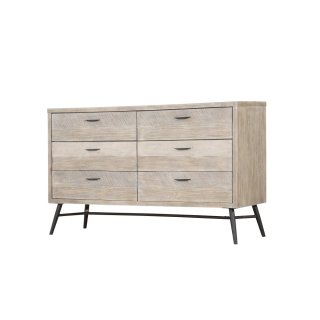 Emerald Home Nova 6 Drawer Dresser Sterling Gray Finish With Back Metal Legs B700-01
