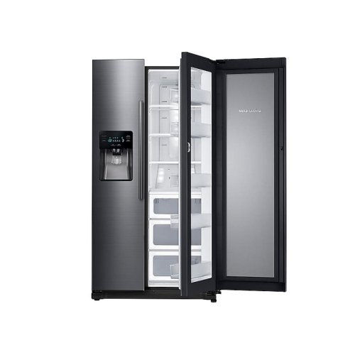 25 cu. ft. Food ShowCase Side-by-Side Refrigerator with Metal Cooling in Black Stainless Steel