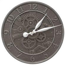 """Gear 16"""" Indoor Outdoor Wall Clock - Aged Iron"""